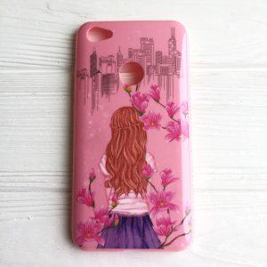 TPU чехол Magic Girl со стразами для Xiaomi Redmi Note 5A Prime / Redmi Y1 (Розовый / Сакура)