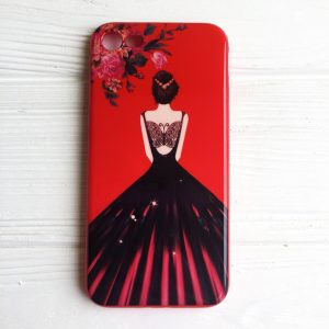 "TPU чехол Magic Girl со стразами для Apple iPhone 7 / 8 (4.7"") (Красный / Цветы)"