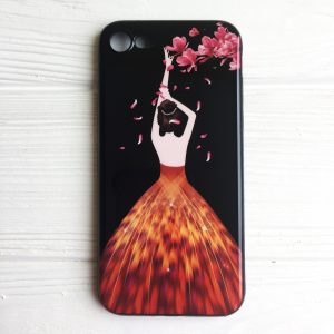 "TPU чехол Magic Girl со стразами для Apple iPhone 7 / 8 (4.7"") (Черный / Лепестки)"