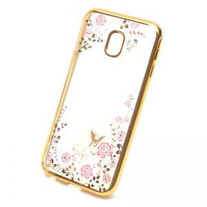 Прозрачный чехол с цветами и стразами для Samsung J330 Galaxy J3 (2017) с глянцевым бампером (Золотой/Розовые цветы)