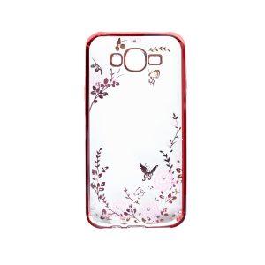 Прозрачный чехол с цветами и стразами для Samsung J500H Galaxy J5 с глянцевым бампером (Розовый/Розовые цветы)