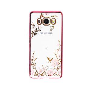 Прозрачный чехол с цветами и стразами для Samsung J510F Galaxy J5 (2016) с глянцевым бампером (Розовый/Розовые цветы)
