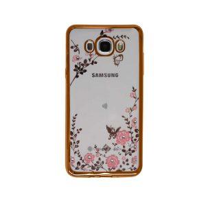 Прозрачный чехол с цветами и стразами для Samsung J710F Galaxy J7 (2016) с глянцевым бампером (Золотой/Розовые цветы)