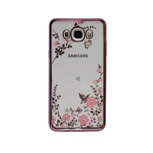 Прозрачный чехол с цветами и стразами для Samsung J710F Galaxy J7 (2016) с глянцевым бампером (Розовый/Розовые цветы)