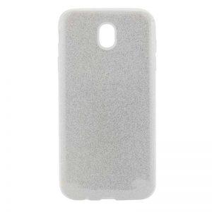 Серебряный силиконовый (TPU+PC) чехол (накладка) с блестками Shine для Meizu M6 (Silver)