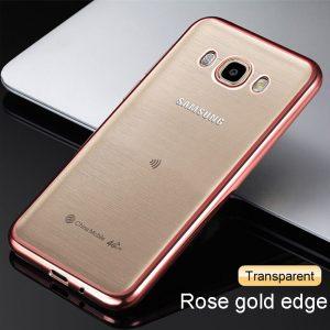 Прозрачный силиконовый чехол с розовым ободком для Samsung Galaxy J7 2016 (SM-J710F)