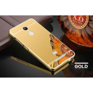 Металлический бампер с акриловой вставкой с зеркальным покрытием для Xiaomi Redmi 5 (Золотой)