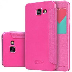 Кожаный чехол (книжка) Nillkin Sparkle Series для Samsung A510 Galaxy A5 (2016) Розовый