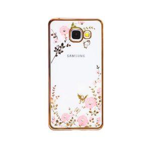 Прозрачный чехол с цветами и стразами для Samsung A510 Galaxy A5 (2016) с глянцевым бампером (Золотой/Розовые цветы)