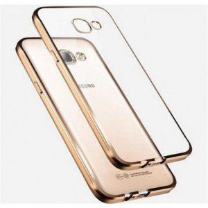 Прозрачный силиконовый чехол для Samsung A510F Galaxy A5 (2016) с глянцевой окантовкой (Золотой)