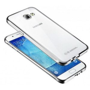 Прозрачный силиконовый чехол для Samsung Galaxy A5 2016 (A510) с глянцевой окантовкой (Серебряный)