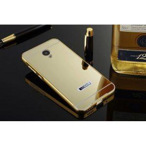 Защитный металлический бампер с зеркальным покрытием золотой для Meizu M3/M3s/M3 mini