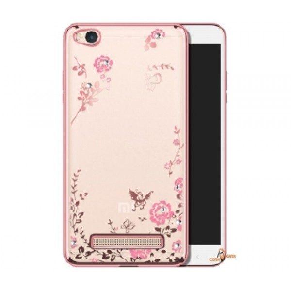 Силиконовый чехол с глянцевым розовым ободком c цветами и стразами для Xiaomi Redmi 4A