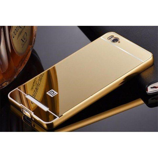 Металлический зеркальный золотой бампер с акриловой вставкой  для Xiaomi Redmi 4A