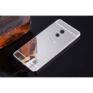 Металлический бампер с акриловой вставкой с зеркальным покрытием для Meizu M6 Note Серебряный