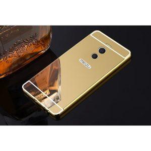 Металлический бампер с акриловой вставкой с зеркальным покрытием для Meizu M6 Note (Золотой)