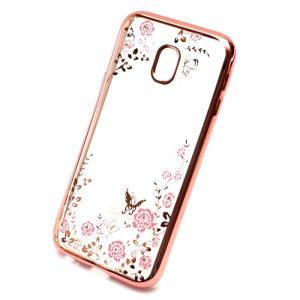 Прозрачный чехол с цветами и стразами для Samsung J330 Galaxy J3 (2017) с глянцевым бампером (Розовый золотой/Розовые цветы)