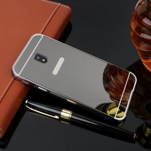 Металлический бампер с акриловой вставкой с зеркальным покрытием для Samsung J530 Galaxy J5(Черный)