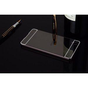 Алюминиевый бампер с акриловой вставкой с зеркальным покрытием для Sony Xperia XA / XA Dual (Gray)