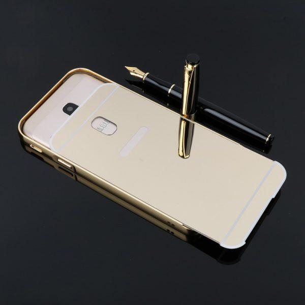 Металлический бампер с акриловой вставкой с зеркальным покрытием для Samsung J730 Galaxy J7 (2017) Золотой