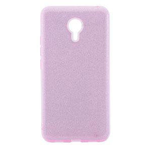 Силиконовый (TPU+PC) чехол Shine с блестками для Meizu M3 Note (Розовый)