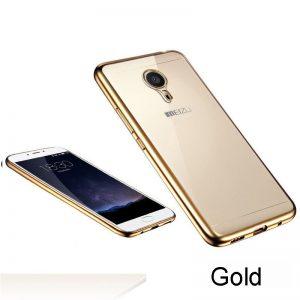Прозрачный силиконовый чехол с глянцевым золотым ободком для Meizu M5