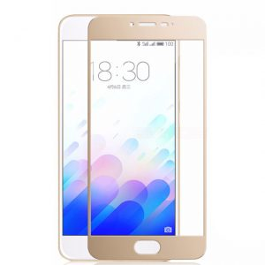 Защитное стекло 2.5D (3D) Full Cover на весь экран для Meizu M3s / M3 / M3 mini – Gold