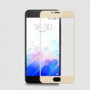 Защитное стекло 2.5D (3D) Full Cover на весь экран для Meizu M5 Note – Gold