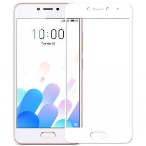 Защитное стекло 2.5D (3D) Full Cover на весь экран для Meizu M5c – White