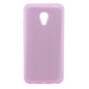 Силиконовый (TPU+PC) чехол Shine с блестками для Meizu M5 Note (Розовый)