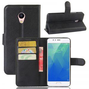 Кожаный чехол (книжка) Wallet с визитницей для Meizu M5s (Черный)