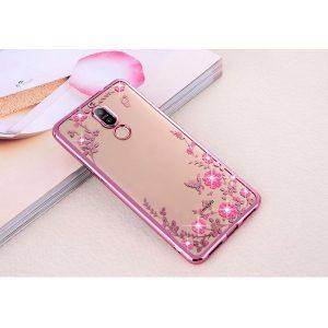 Прозрачный чехол с цветами и стразами для Huawei Mate 10 Lite с глянцевым бампером (Розовый золотой/Розовые цветы)