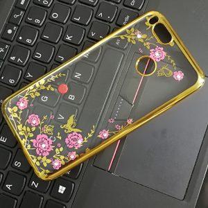 Прозрачный чехол с цветами и стразами для Xiaomi Mi 5X / Mi A1 с глянцевым бампером (Золотой/Розовые цветы)