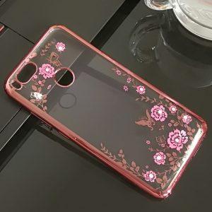 Прозрачный чехол с цветами и стразами для Xiaomi Mi 5X / Mi A1 с глянцевым бампером (Розовый золотой/Розовые цветы)