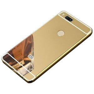 Металлический бампер с акриловой вставкой с зеркальным покрытием для Xiaomi Mi 5X / Mi A1 (Gold)