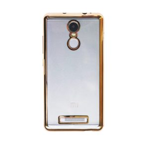 Прозрачный силиконовый чехол для Xiaomi Redmi Note 3 / 3 Pro с глянцевой окантовкой (Золотой)