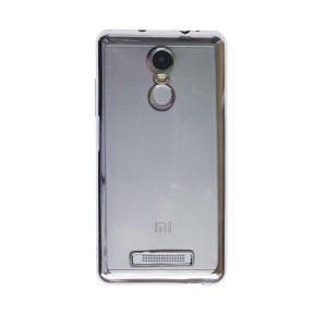 Прозрачный силиконовый чехол для Xiaomi Redmi Note 3 / Redmi Note 3 Pro с глянцевой окантовкой (Серебряный)