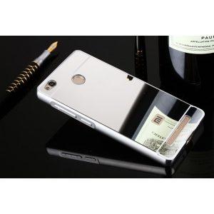 Защитный алюминиевый бампер с акриловой вставкой с зеркальным покрытием для Xiaomi Redmi 3s / 3 Pro (Silver)