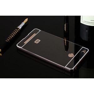 Защитный алюминиевый бампер с акриловой вставкой с зеркальным покрытием для Xiaomi Redmi 3s /  3 pro (Dark Grey)