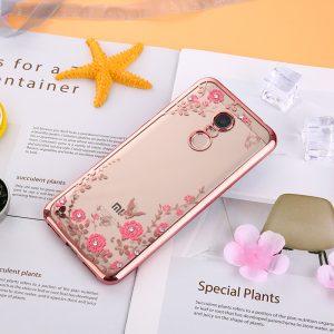 Прозрачный чехол с цветами и стразами для Xiaomi Redmi 5 с глянцевым бампером (Розовый золотой/Розовые цветы)