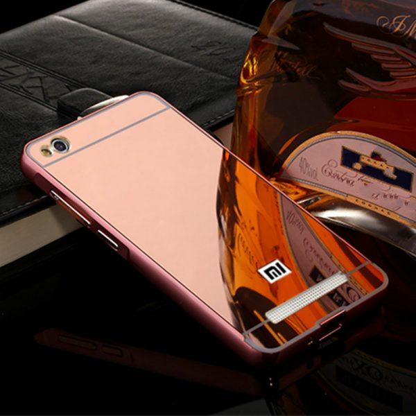 Металлический зеркальный розовый бампер с акриловой вставкой  для Xiaomi Redmi 4A