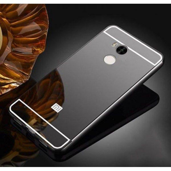 Металлический бампер с акриловой вставкой с зеркальным покрытием для Xiaomi Redmi 4 Pro / Redmi 4 Prime (Grey)