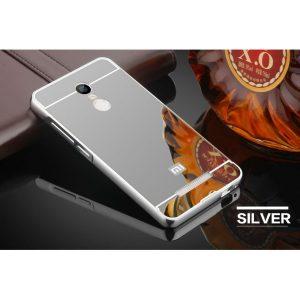 Алюминиевый бампер с акриловой вставкой с зеркальным покрытием для Xiaomi Redmi 5 (Серебряный)