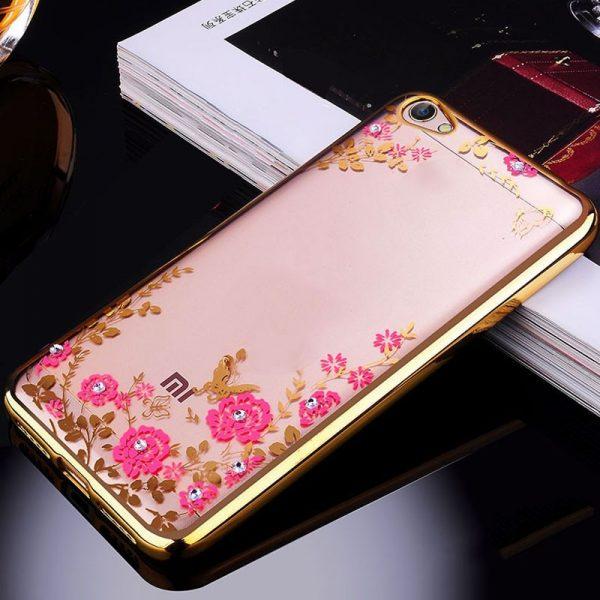 Прозрачный чехол с цветами и стразами для Xiaomi Redmi 5A с глянцевым бампером (Золотой/Розовые цветы)