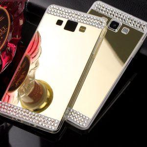 Силиконовый чехол зеркальный со стразами для смартфона Samsung J700 / J701 Galaxy J7 (2015) / J7 Neo (Gold)