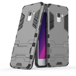 Cерый ударопрочный чехол-подставка Transformer для Samsung A530 Galaxy A8 (2018) с мощной защитой корпуса (Металл / Gun Metal)