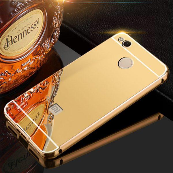 Защитный алюминиевый бампер с акриловой вставкой с зеркальным покрытием для Xiaomi Redmi 4X Gold
