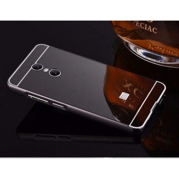 Металлический зеркальный темно – серый бампер с акриловой вставкой для Xiaomi Redmi Note 4x / Note 4