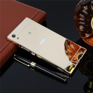 Алюминиевый бампер с акриловой вставкой с зеркальным покрытием для Sony Xperia XA1 / XA1 Dual (Золотой)