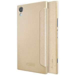 Кожаный чехол (книжка) Nillkin Sparkle Series для Sony Xperia XA1 Plus / XA1 Plus Dual (Золотой)